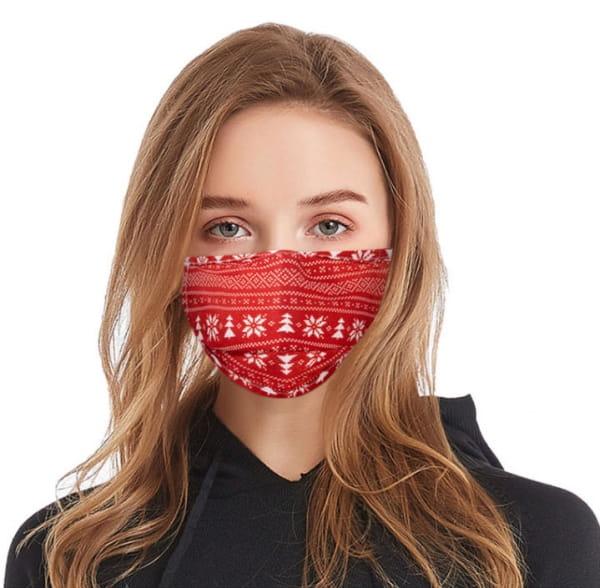 Masque en tissu lavable Hiver rouge